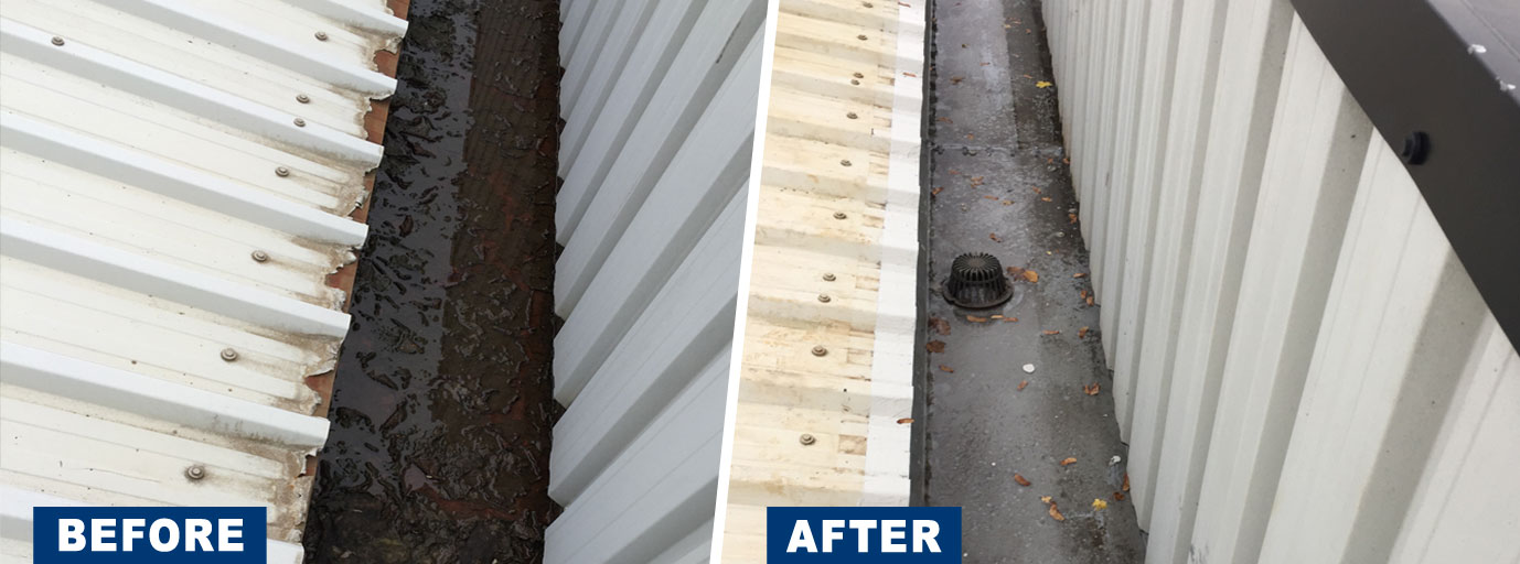 Before and after shot or dirty and clean gutters after welwood cleaned them